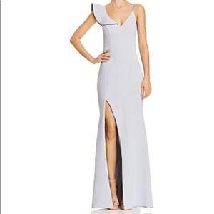 Aqua Ruffle Shoulder Dress